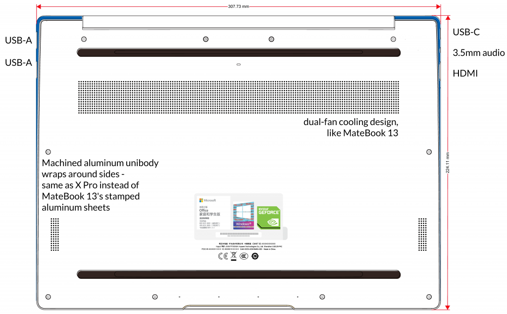 Annotated page of KLV-WX9 (2019 MateBook X Pro) label document from FCC, showing unique port selection and revised design.