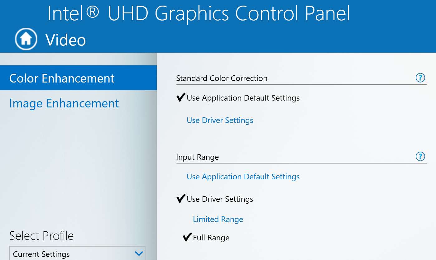 Input Range setting in Intel Graphics Control Panel
