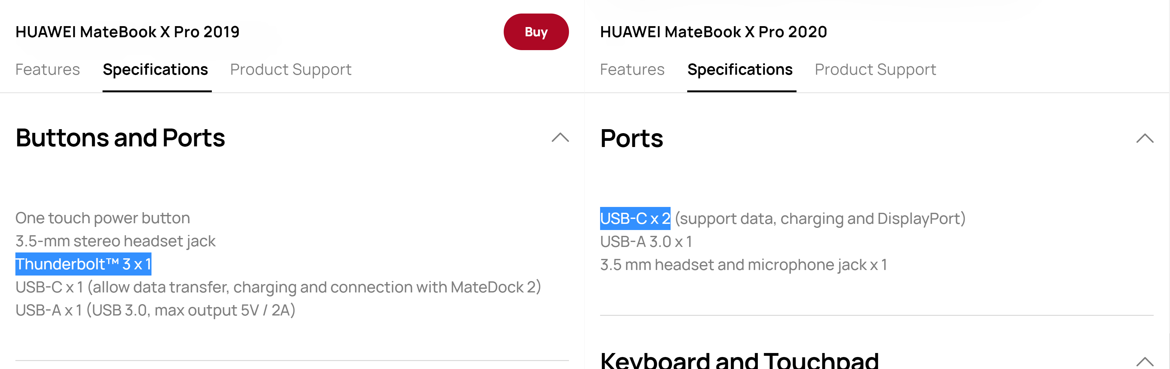 Comparison of the ports specifications on Huawei's website.